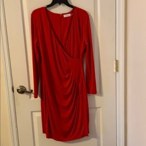 Worn Once Calvin Klein Red Dress Size 14